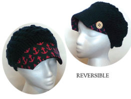 Navy Reversible Hat with Anchor fabric